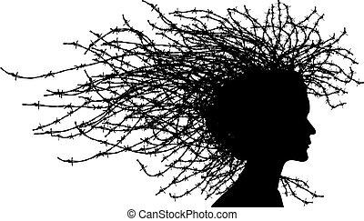huvud, kvinna