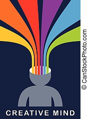 huvud, lägenhet, artist, skapande, vektor, färgrik, hjärna, ...