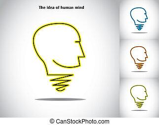 huvud lätta, abstrakt, idé, mänsklig, lök