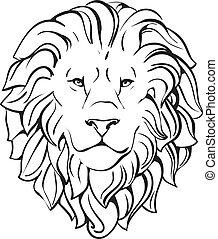huvud, lejon