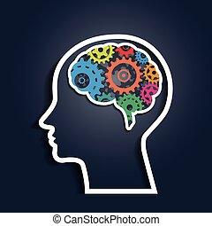 huvud, mänsklig, färgrik, utrustar
