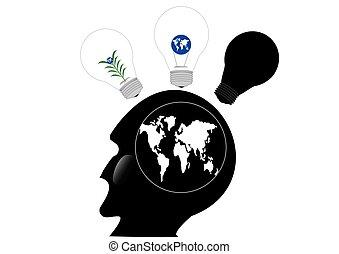 huvud, mänsklig, idé, illustration