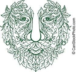 huvud, man, främre del, grön, mandala