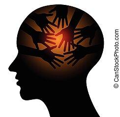 huvud, med, omsorgen, räcker