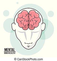 huvud, mental, intelligens, hjärna, design, mänsklig, främre del, hälsa