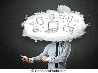 huvud, nätverk, affärsverksamhet yrkesmässig, moln, man