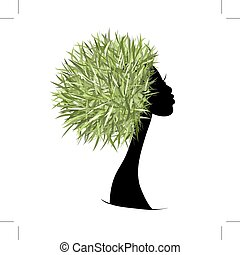 huvud, organisk, begrepp, hår, design, kvinnlig, din, omsorg