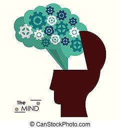 huvud, silhuett, framgång, själ, hjärna, utrustar
