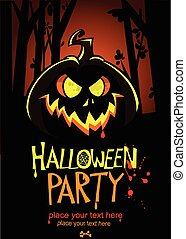 huvud, text., halloween, vektor, plats, design, baner, template., pumpa