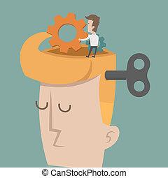 huvud, utrustar, hjärna, framsteg
