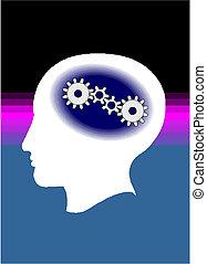 huvud, utrustar, hjärna, progress.
