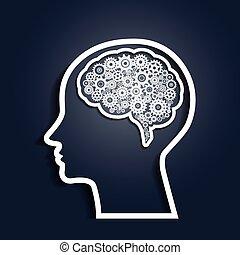huvud, utrustar, mänsklig