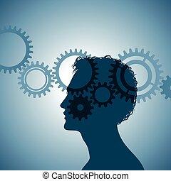 huvud, utrustar, mänsklig, kontur