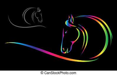 huvud, vektor, häst