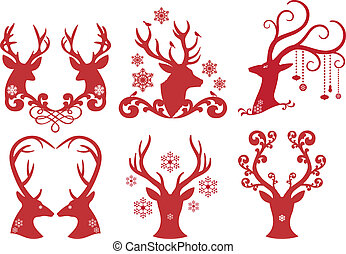 huvuden, hjort, jul, vektor, hjorthane