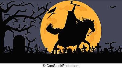 huvudlös, häst, man, kyrkogård, ridande
