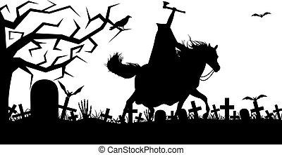 huvudlös, hästkarl, illustration
