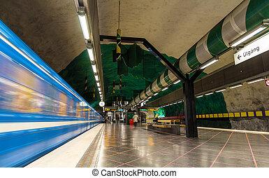 huvudsta, train, partir, stockholm, station, métro