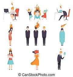 huvudvärk, brännande, folk, förbrukad, förstånd, burnout, trött, stressa, illustration, psykologiskt, sätta, vektor, emotionell, problem, fördjupning, begrepp