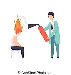 huvudvärk, kvinna, eldsläckare, brännande, stressa, förbrukad, psykoterapeut, burnout, problem, ung, illustration, psykologiskt, begrepp, psykolog, vektor, eld, hjärna, emotionell, fördjupning, eller