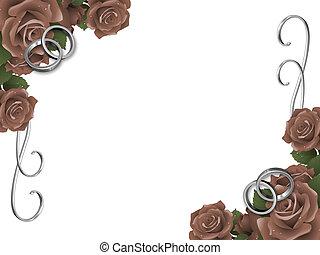 huwelijk belt op, en, rozen
