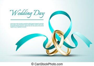huwelijk belt op, vector, kaart, mal, uitnodiging, lint