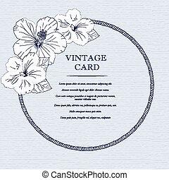 huwelijk, ontwerp, mal, met, gewoonte, namen, in, ronde, frame, hibiscus, flowers., vector, illustration.