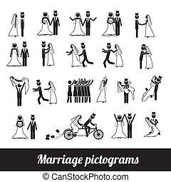 huwelijk, pictograms