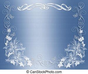 huwelijk uitnodiging, blauwe
