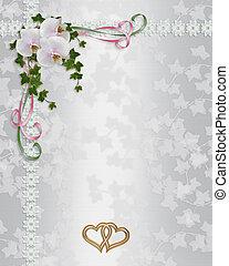 huwelijk uitnodiging, elegant, orchids