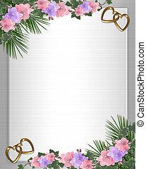 huwelijk uitnodiging, grens, orchids, klimop