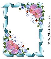 huwelijk uitnodiging, grens, orchids