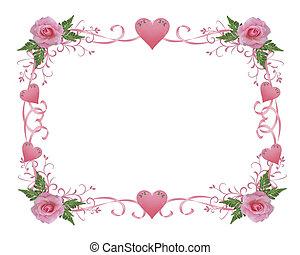 huwelijk uitnodiging, grens, rose kwam op