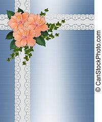 huwelijk uitnodiging, hibiscus, kant