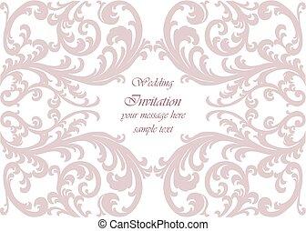 huwelijk uitnodiging, kaart, met, kant, ornament