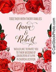 huwelijk uitnodiging, kaart, met, roos, bloemenrand