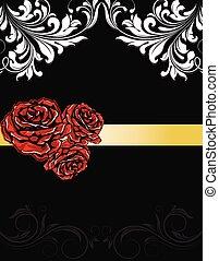 huwelijk uitnodiging, kaart, met, rozen