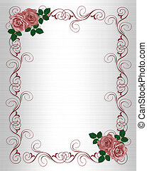 huwelijk uitnodiging, mal, rozen