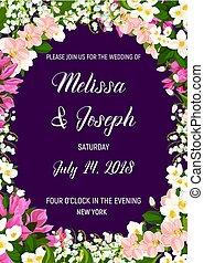 huwelijk uitnodiging, met, frame, van, jasmijn, bloem