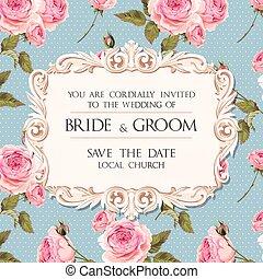 huwelijk uitnodiging, met, rozen