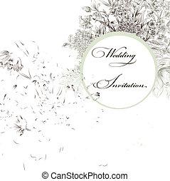 huwelijk uitnodiging, met, vogels, en, f