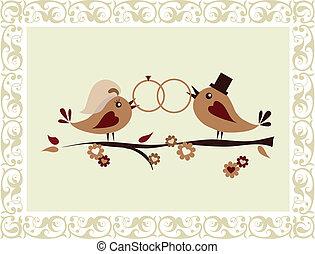 huwelijk uitnodiging, met, vogels