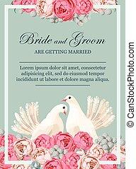 huwelijk uitnodiging, met, witte duiven