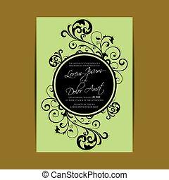 huwelijk uitnodiging, of, aankondiging, kaart