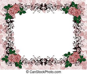 huwelijk uitnodiging, rode rozen, orname