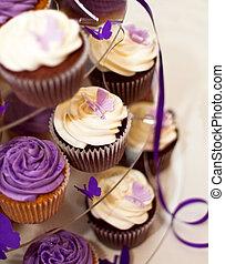 huwelijkscake, -closeup, op, mooi, yummy, cupcakes