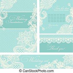 huwelijksuitnodigingen, met, ouderwetse , kant, achtergrond.