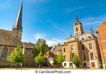 Huy in Belgium, Walloon region, town square with city hall ...
