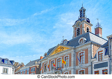 Huy in Belgium, Walloon region, town square with city hall