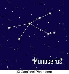 """"""", hvězda, monoceros"""", sky., ilustrace, vektor, večer, souhvězdí"""